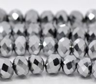 72 Silver Crystal Glass Faceted Rondelle Beads 8 x 6mm